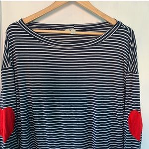 Heart Elbow Patch Navy Striped Long Sleeve Size L